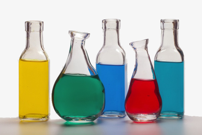 Chemistry experiment bottles color. Chemical clipart glass