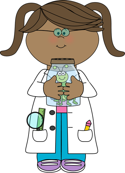 Chemical clipart jar. Girl scientist with insect