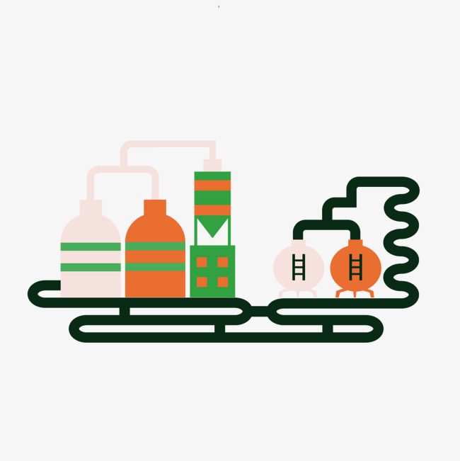 Vector cartoon pipeline processing. Chemical clipart pipelines