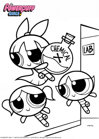 With x coloring page. Chemical clipart powerpuff girls