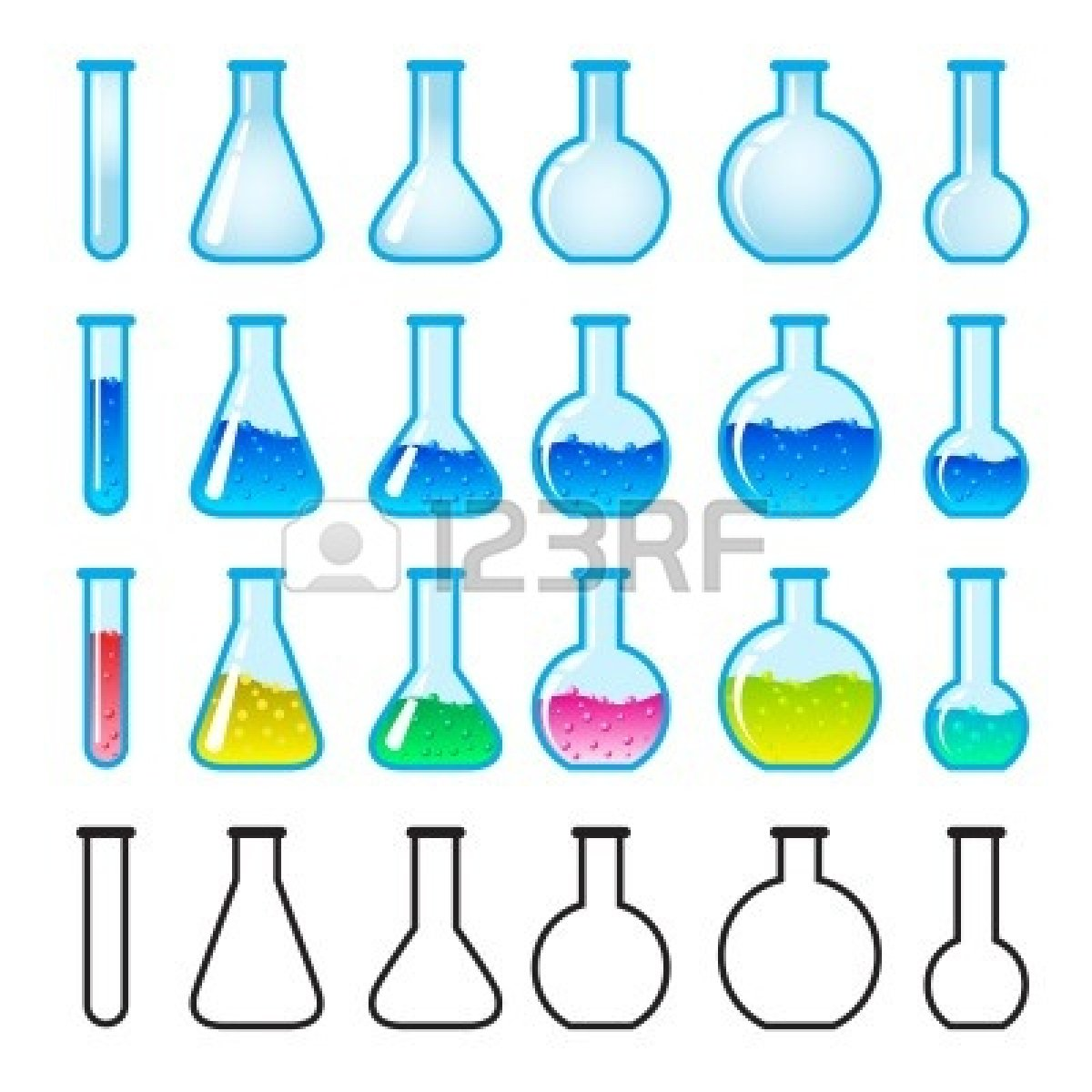Lab set of panda. Chemical clipart science