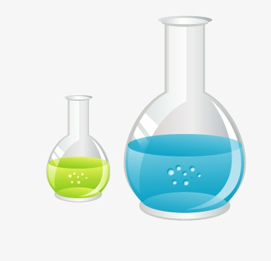 Cartoon chemicals experiment bottle. Chemical clipart solution chemistry