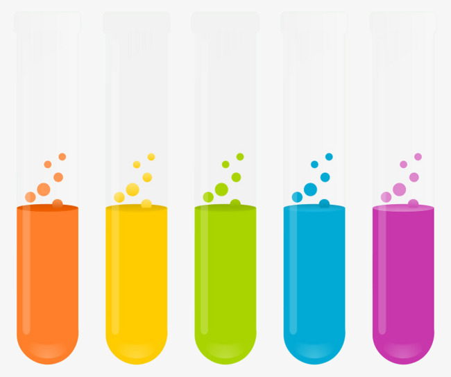Textured color cartoon elements. Chemical clipart test tube