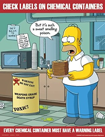 Simpsons chemical safety poster. Chemicals clipart container