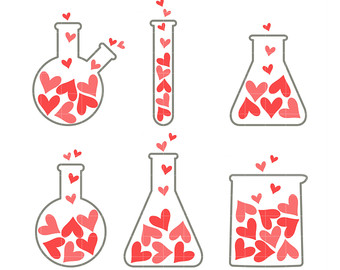 Chemistry clipart. Etsy love set digital