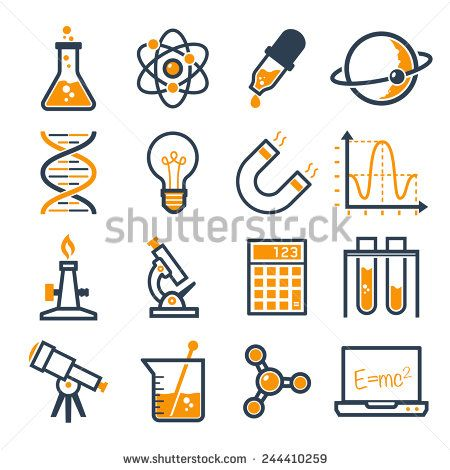 Graphic set science and. Chemistry clipart consumer