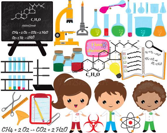 Chemistry clipart cute. Digital clip art graphics