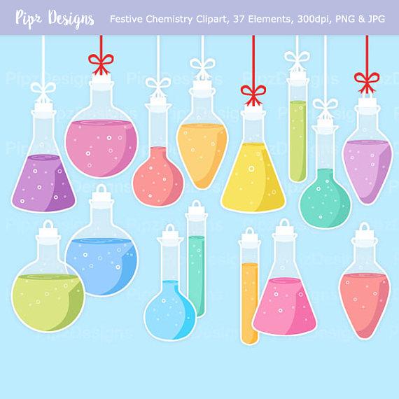 Flasks potion bottle ornaments. Chemistry clipart item