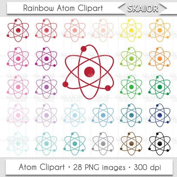 Chemistry clipart item. Atom clip art rainbow