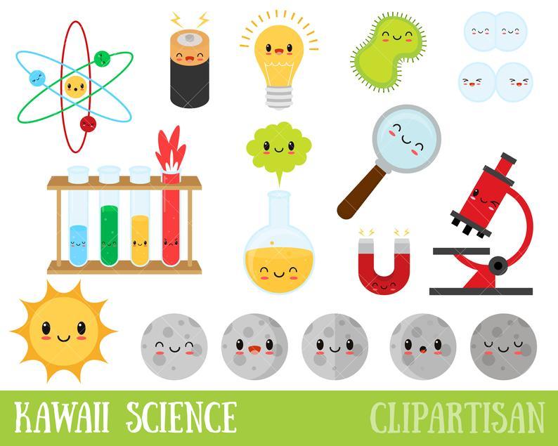 Kawaii science lab clip. Chemistry clipart item