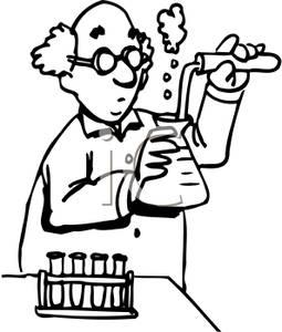 A chemist clip image. Chemistry clipart line art
