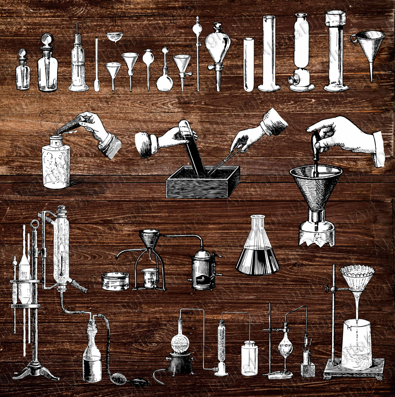 engraving alchemy flask. Chemistry clipart vintage
