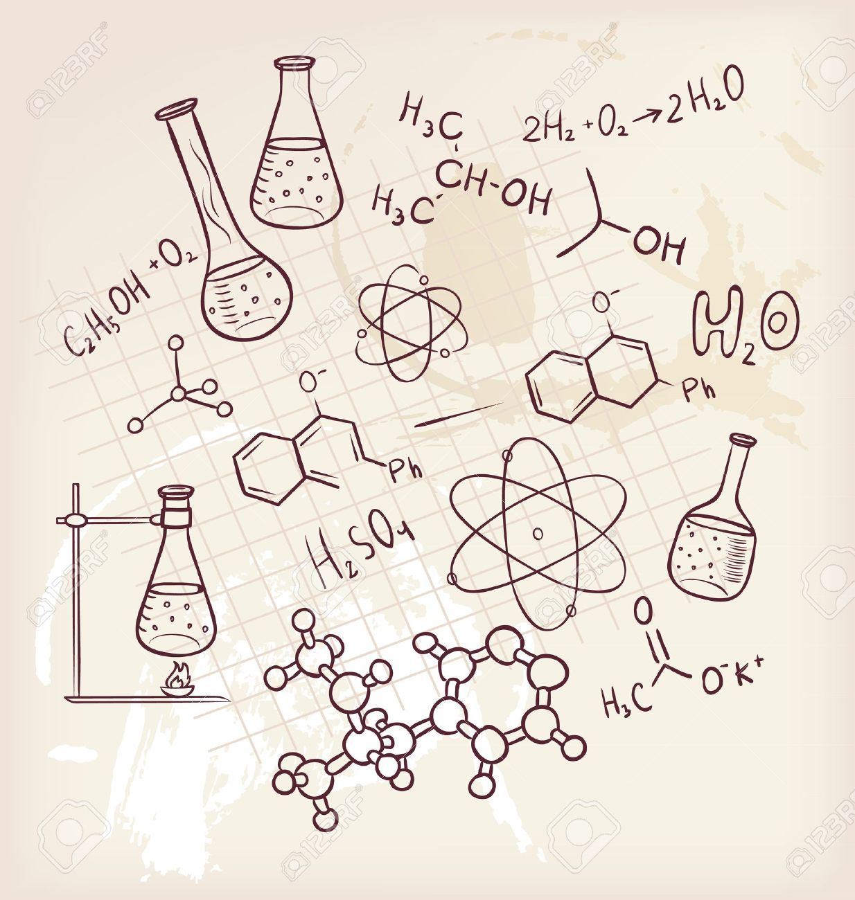 Vector illustration of hand. Chemistry clipart vintage