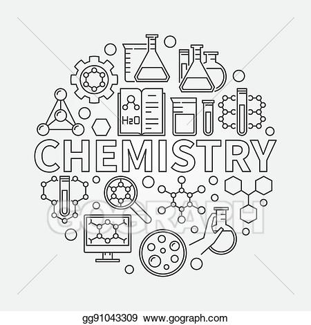 Chemistry clipart word. Eps vector line round