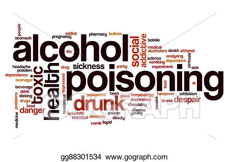 Drawing alcohol poisoning cloud. Chemistry clipart word