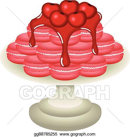 Vector stock cherry macarons. Cherries clipart bowl