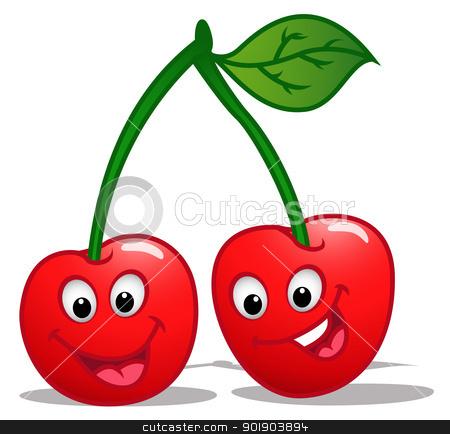 Cherry clipart cartoon. Stock vector