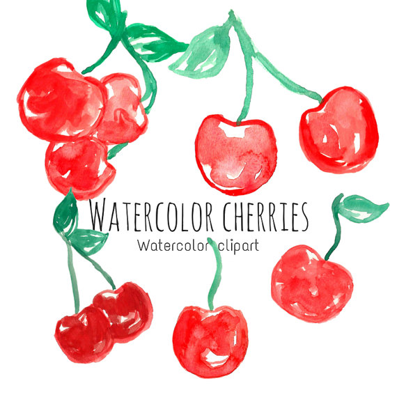 Watercolor clip art fruit. Cherry clipart file