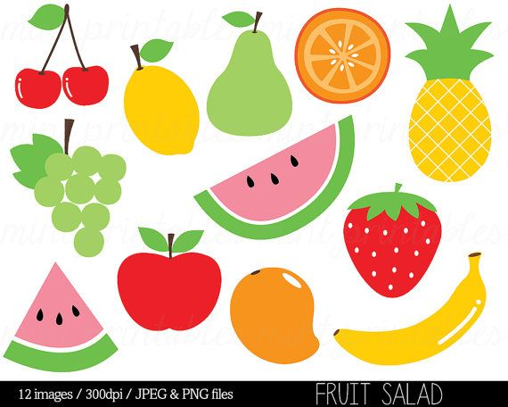 Cherries clipart clip art. Fruit salad watermelon pineapple
