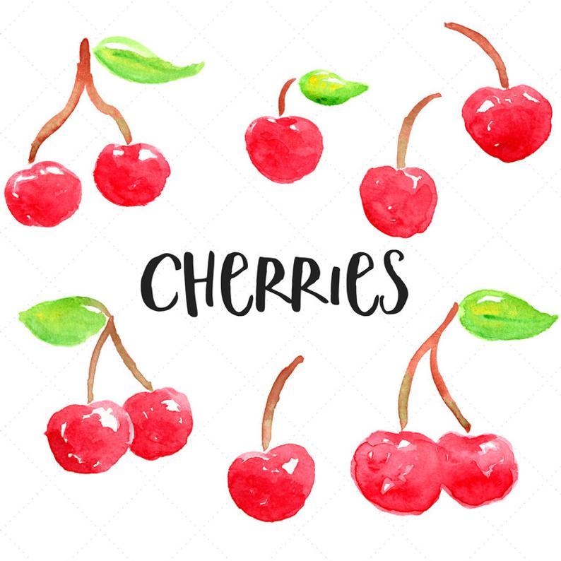 Cherries clipart cute. Watercolor handpainted cherry clip
