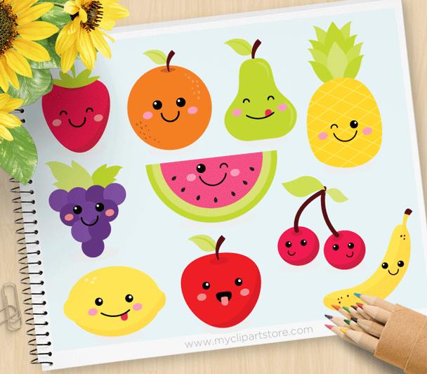 Cherries clipart cute. Fruit kawaii premium vector
