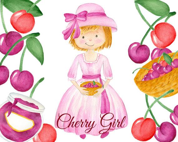 Cherry girl watercolor illustration. Cherries clipart cute