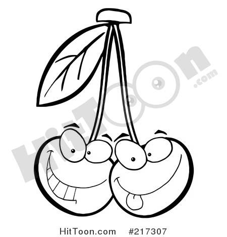 Cherries two outlined characters. Cherry clipart face