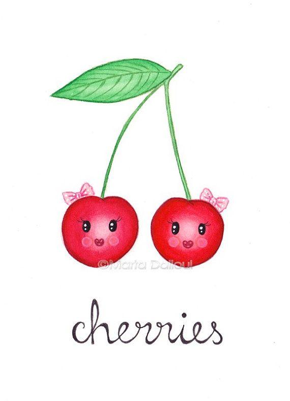 Fruit art print watercolor. Cherry clipart kid