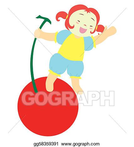 Stock illustration my girl. Cherry clipart kid