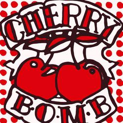 Cherry clipart pop art. Bomb retro print of