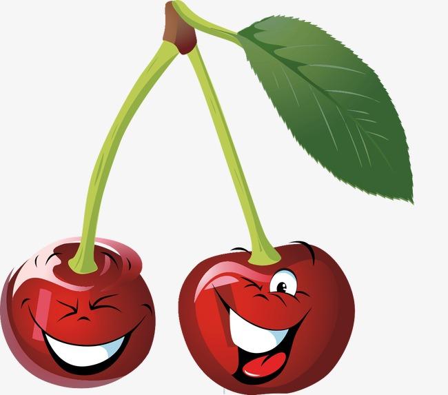 Cherries clipart stem. Cartoon cherry laughing png