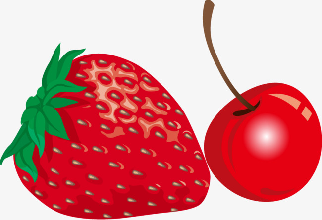 Cherry clipart strawberry. Png vector material and