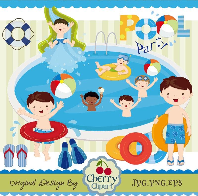 Cherry clipart kid. Pool party swim boys
