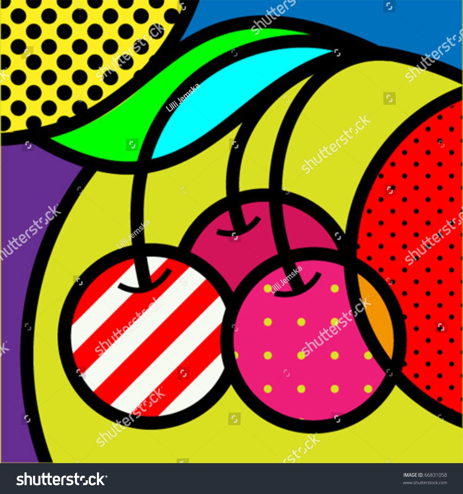 Fruits vector illustration for. Cherry clipart pop art