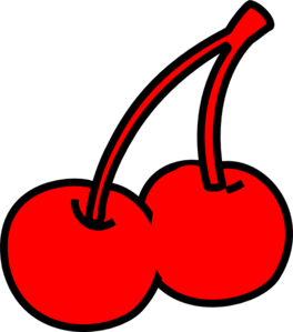 Two red cherry clip. Cherries clipart vector