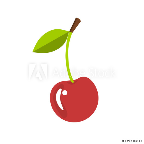 Single with a leaf. Cherry clipart stem