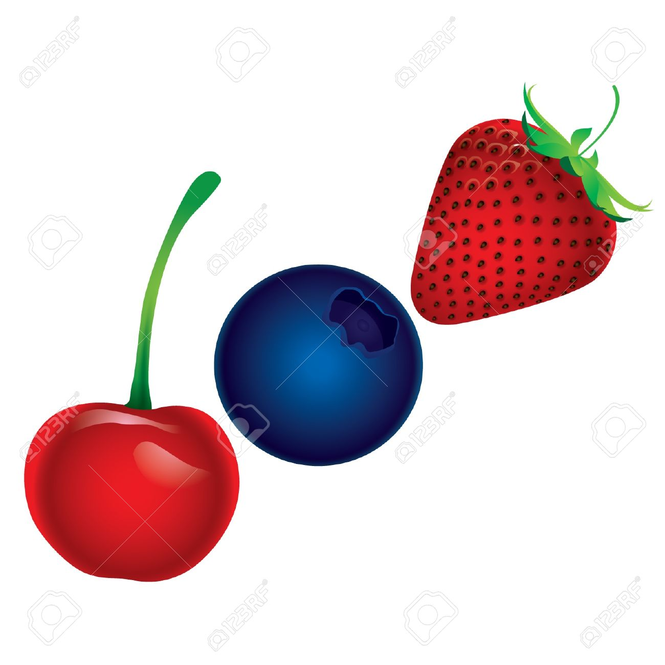 Pencil and in color. Cherry clipart strawberry