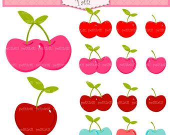 Watercolor fruit clip art. Cherry clipart strawberry