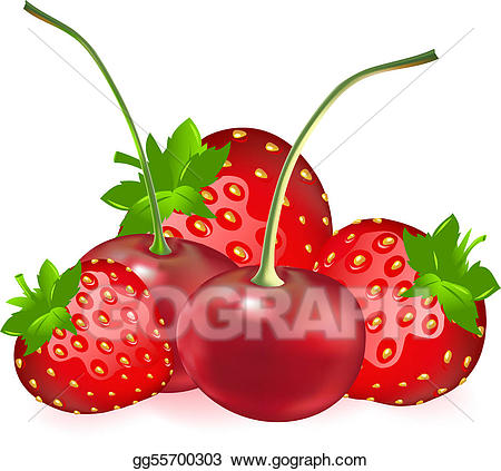 Vector stock with illustration. Cherry clipart strawberry