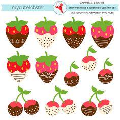 Strawberries set clip art. Cherry clipart strawberry
