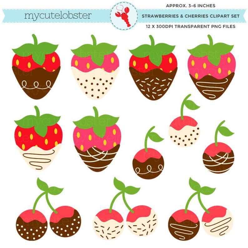 Cherry clipart strawberry. Strawberries cherries set chocolate