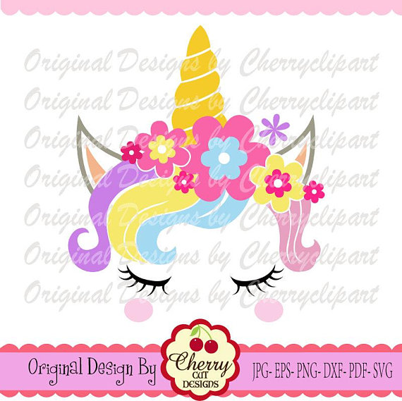 Cherry clipart unicorn. Svg dxf with flowers