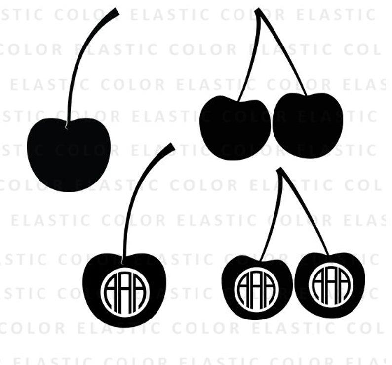 Svg monogram files silhouette. Cherry clipart vector