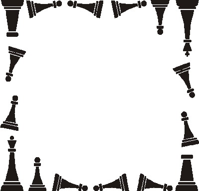 Pencil and in color. Chess clipart border