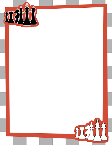 Chess clipart border. Page with black and