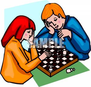 Chess clipart chess player. A boy and girl
