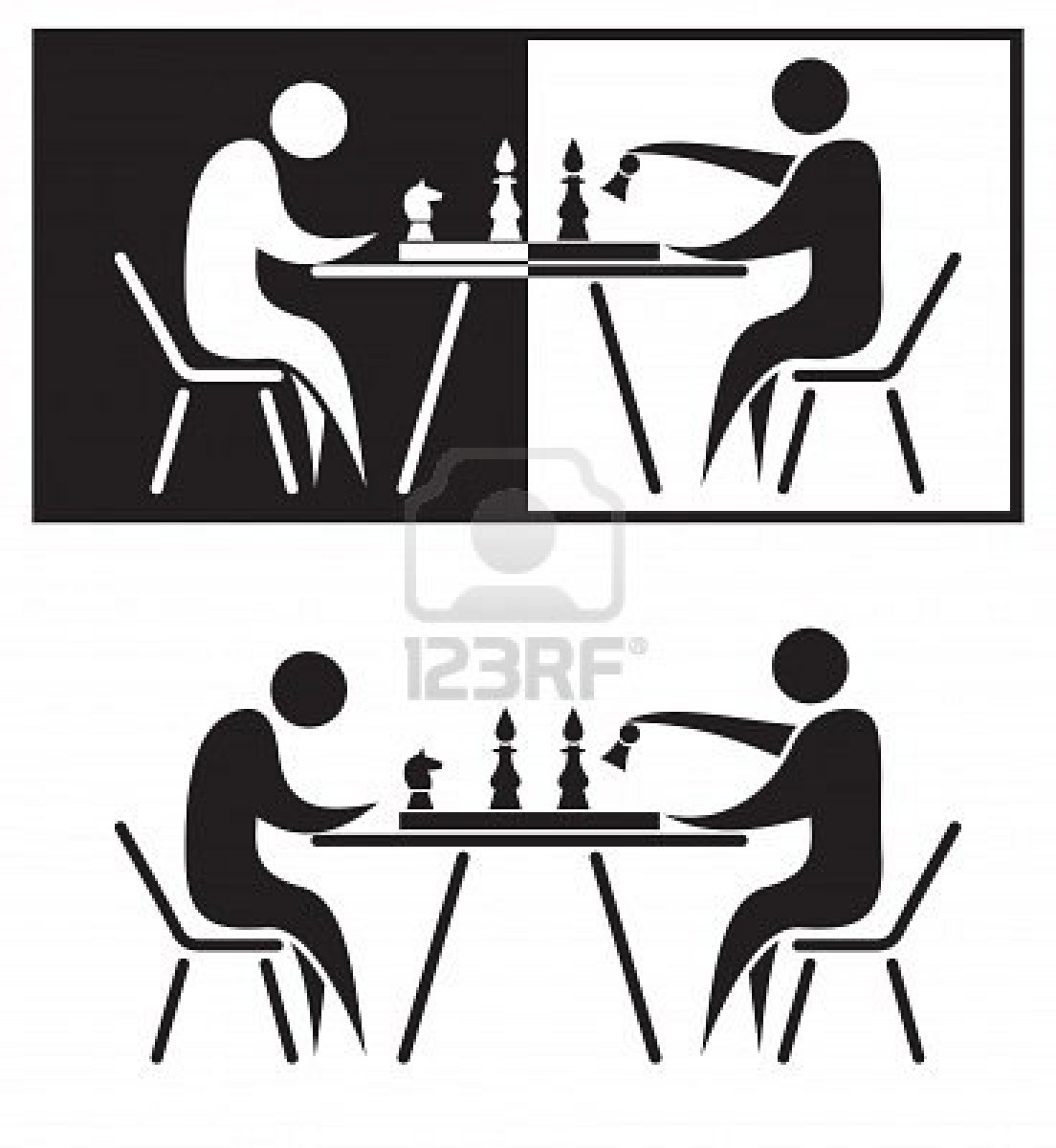 Players black and white. Chess clipart chess player