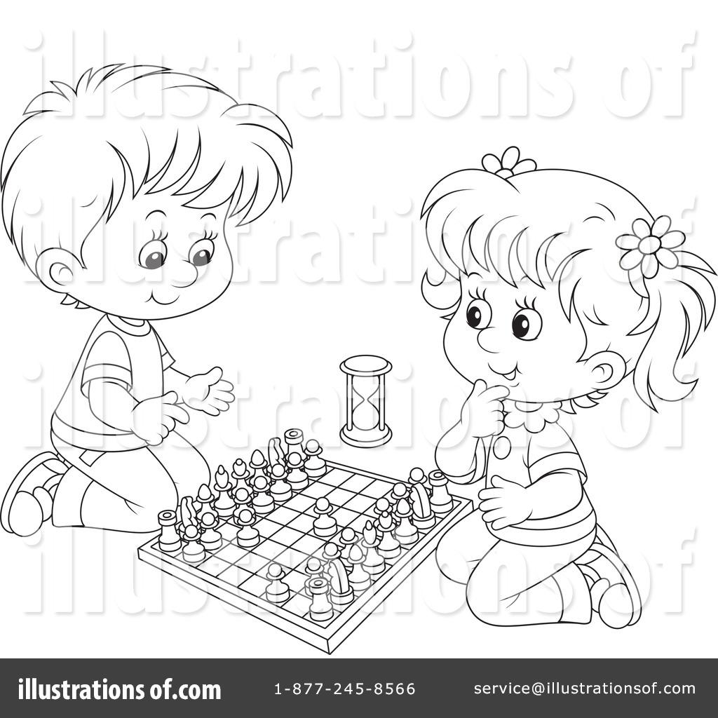 Chess clipart line. Illustration by alex bannykh