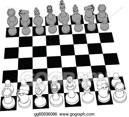 Chess clipart line. Vector art set game