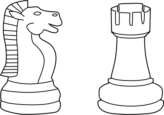 Chess clipart line. Two pieces art free